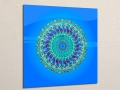 Acrylic Print: Multicolored Mandala on Blue Background