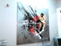 Acrylic Print: Snowboarder on Abstract Background