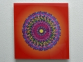 Acrylic Print: Multicolored Mandala on Orange Background