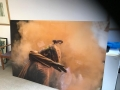 Acrylic Print: Man Surrounded by Orange Smoke