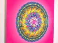 Acrylic Print: Multicolored Mandala on Pink Background