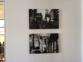 Acrylic Black & White Print: People Walking on Street/ Restaurant Sign