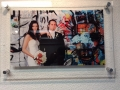 Acrylic Print with Standoffs: Newlyweds with Graffiti Background
