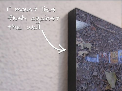 """Image shows 1"""" mount that lies flush against wall."""