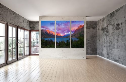 Acrylic print of mountains, lake, and tree divided into three panels.