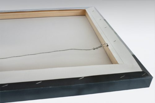 Image shows back of mount framing for canvas prints.