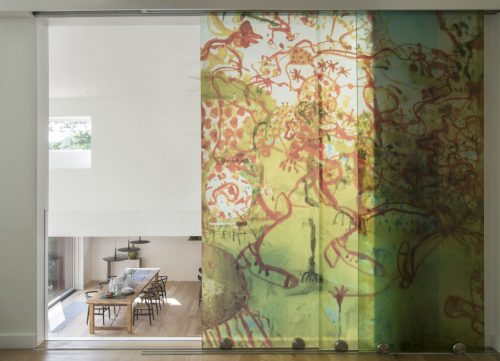 Acrylic abstract multicolored print made into three panels for sliding doors.