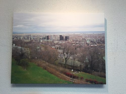 Canvas print of view of city from hilltop.