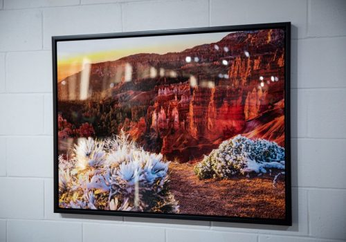 custom metal prints with a frame of a desert
