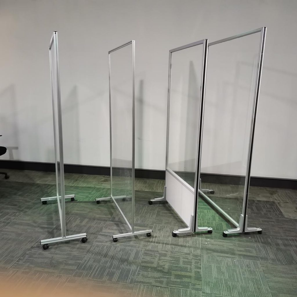 acrylic panel room dividers on wheels.