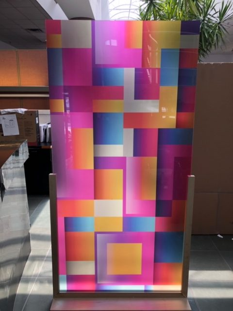 acrylic panel room dividers in a wooden frame