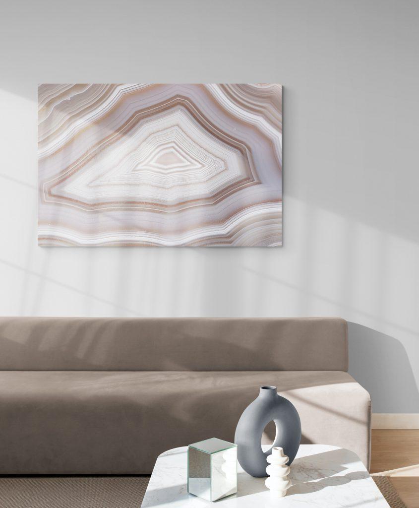 geode decor in living room