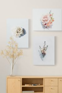 pink wall decor with flowers