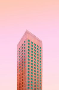pink wall decor of a building