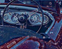 Abstract Acrylic Art Print: Blue Wheel